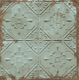 Dutch Reclaimed behang FD22331 Tin Ceiling Teal