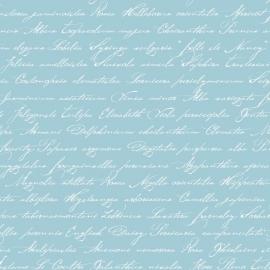 037. Esta Home Handgeschreven latijnse bloemennamen in azuurblauw 128037
