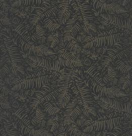 Panama Botanisch blaadjes zwart taupe metalic 9707