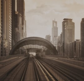 Dutch Fotobehang Dubai trein Vintage Brown