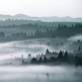 ESTAhome fotobehang Mistig Bos bergen groen 158910