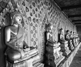 Dutch Fotobehang Bangkok Boedha Zwart Wit
