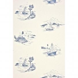 Casadeco Nautic Toile de Jouy blauw