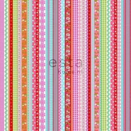 009. Streepjesbehang in roze/blauw/rood/teale/oranje/groen 138142