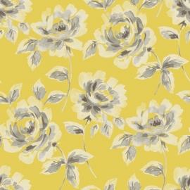 018. Esta Home Aquarel rozen oker geel & bruingrijs 128018