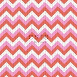 035. Esta Home Wolbehang met puntstreep in roze/koraaloranje 138135