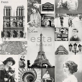 030. Esta Home Parisfoto's brocante behang zwart/wit 138150