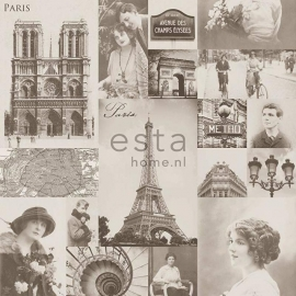 029. Esta Home Parisfoto's brocante behang beige 138148