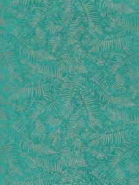 Panama Botanisch blaadjes groen taupe metalic 7619