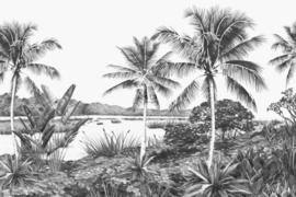 Esta Home Fotobehang Tropisch landschap zwart wit 158901