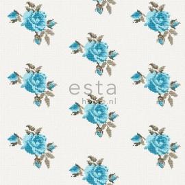 018. Rozen behang in kruissteekmotief turquoise/teale  138146