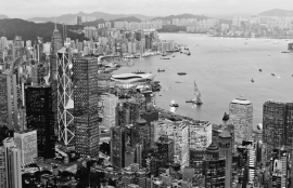 Dutch Fotobehang Hong Kong Zwart Wit