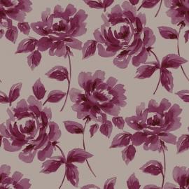 017. Esta Home Aquarel rozen aubergine & taupe 128017
