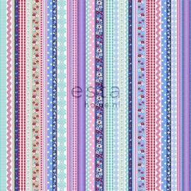 008. Streepjesbehang in roze/blauw/rood/teale 138140