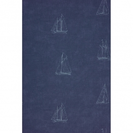 Casadeco Marina Bootjesbehang blauw
