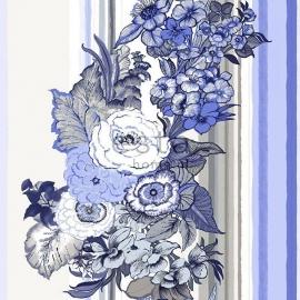 025. Esta Home Streepbehang met bloemenmotief in blauw/bruin/crème  138116