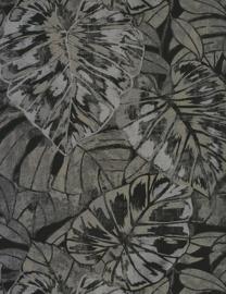 Panama Tropische bladeren zwart/grijs/zilver 9531