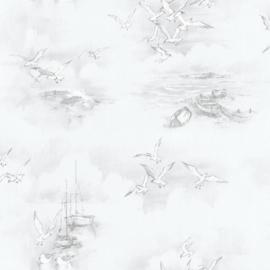 Noordwand Global Fusion Nautisch behang grijs/taupe 6424