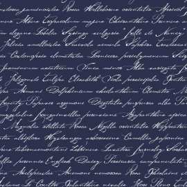 040. Esta Home Handgeschreven latijnse bloemennamen DonkerBlauw 128040