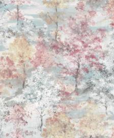 Noordwand Global Fusion Bomen behang Blauw roze rood beige 6432