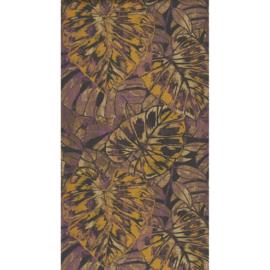 Panama Tropische bladeren antraciet/paars/geelgoud 2516