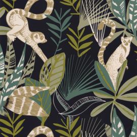 Apenbehang zwart groen beige
