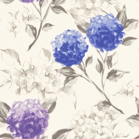 022. Esta Home Hortensia`s diep blauw & paars 128022