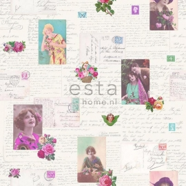 031. Esta Home Franse kaarten/brieven behang grijs/teale/roze 138126