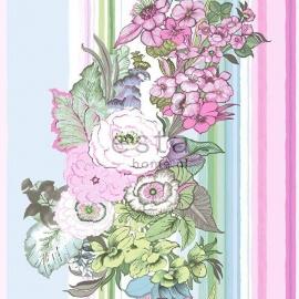 021. Streepbehang met bloemenmotief in pastel roze/groen/blauw/paars  138113