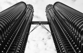 Dutch Fotobehang Kuala Lumpur Zwart wit