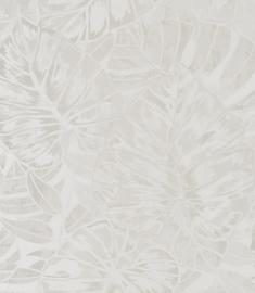 Panama Tropische bladeren creme wit parelmoer 0128