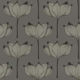 Onszelf Most Fabulous behang 530926  Bloem behang grijs zilver zwart