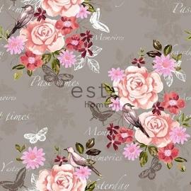 003. Esta Home Bloemenbehang grijs met roze/koraalrood/bruine bloemen  138121