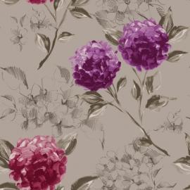 024. Esta Home Hortensia`s taupe & aubergine 128024