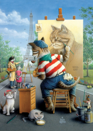 Art Puzzle - Painter Cat - 500 stukjes