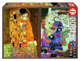 Educa Gustav Klimt - the Kiss & the Virgin - 2x1000 stukjes