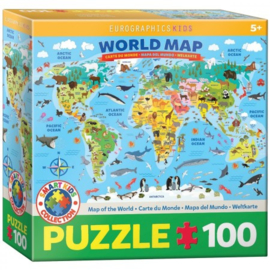 Eurographics 5554 - Illustrated Map of the World - 100XXL stukjes