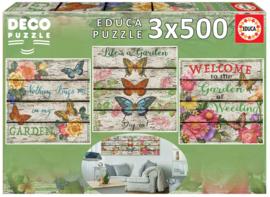 Educa - Vlindertuin - 3x500 stukjes