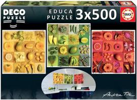Educa - Exotisch Fruit en Bloemen - 3x500 stukjes
