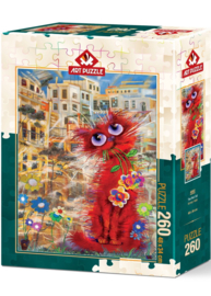 Art Puzzle - Red Cat - 500 stukjes