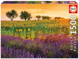 Educa - Veld Vol Met Zonnebloemen en Lavendel - 1500 stukjes