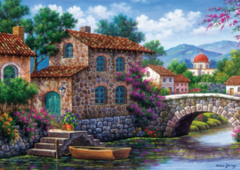 Art Puzzle - Canal With Flowers - 500 stukjes