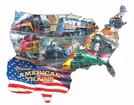 SunsOut 96006 - Classic American Trains - 600 stukjes  Vormpuzzel