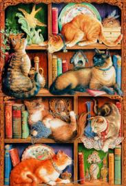 Cobble Hill - Feline Bookcase - 2000 stukjes
