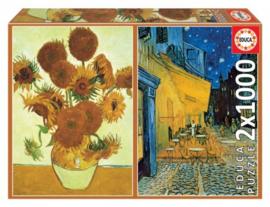 Educa Vincent van Gogh - Sunflowers & Cafe Terras at Night - 2x1000 stukjee