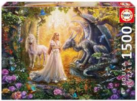 Educa - Draak, Prinses en Eenhoorn - 1500 stukjes