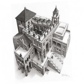 Puzzelman M.C.Escher -Klimmen en Dalen - 1000 stukjes