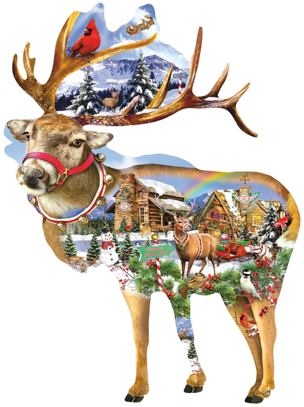 SunsOut 97295 - Reindeer Training - 800 stukjes  Vormpuzzel
