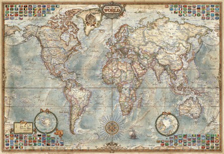 Educa - Political Map of the World Miniatuur serie - 1000 stukjes