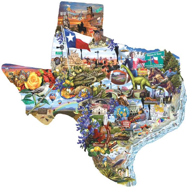 SunsOut 95373 - Welcome to Texas - 1000 stukjes  Vormpuzzel